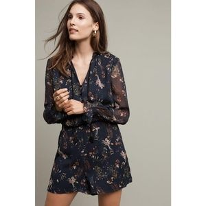 New Anthropologie Elevenses Romper Blue Size Small